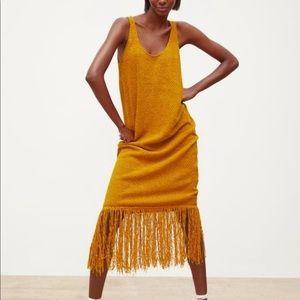 🌻 Zara Mustard Long Fringe Tank Dress Sunflower